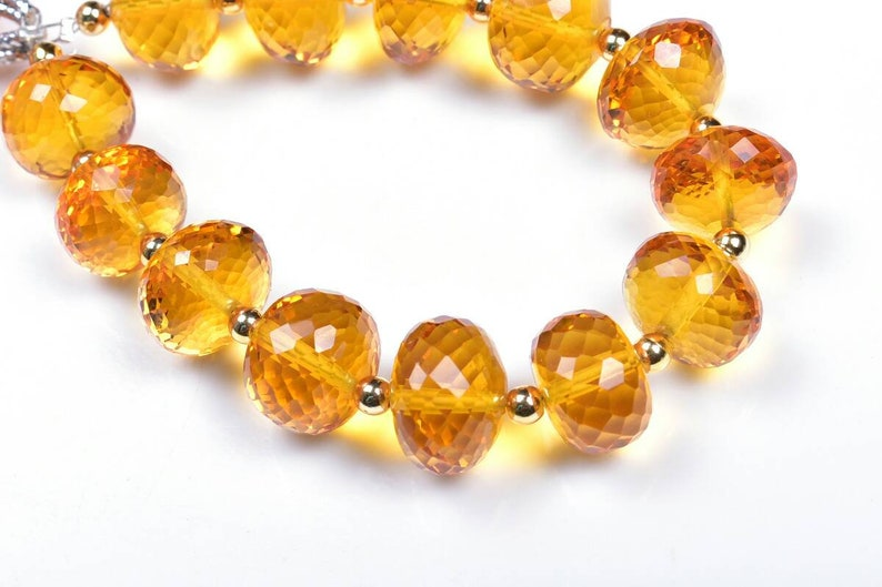 AAA Quality 6Strand..b461 13Beads Citrine hydro Faceted Rondelle Beads 11.5-14.5mm