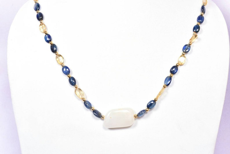 Beaded Necklace-Kyanite-Citrine-White Rainbow-Plain Nuggets-Gemstone Necklace-Hook-Gift-For Women-20 Length..B554