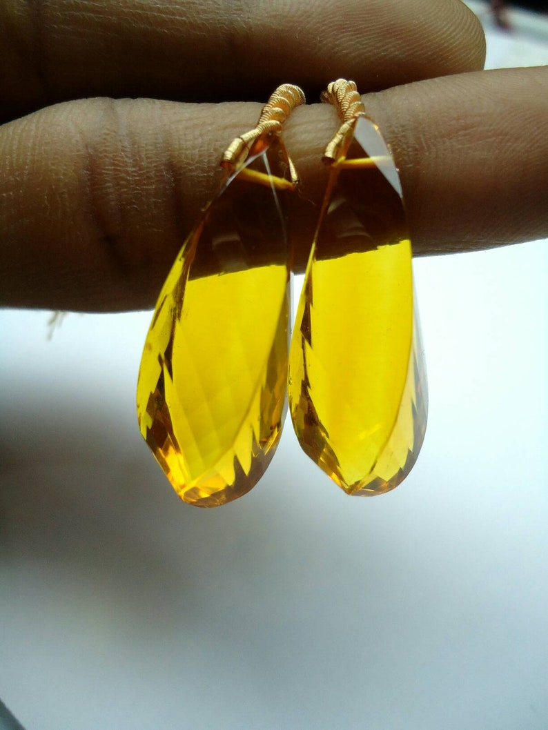Fancy Shape-Nuggets Beautiful Citrine Quartz pair-lab Treated-Faceted Tumbled drops beads for earrings 31.5mm Long.#b380
