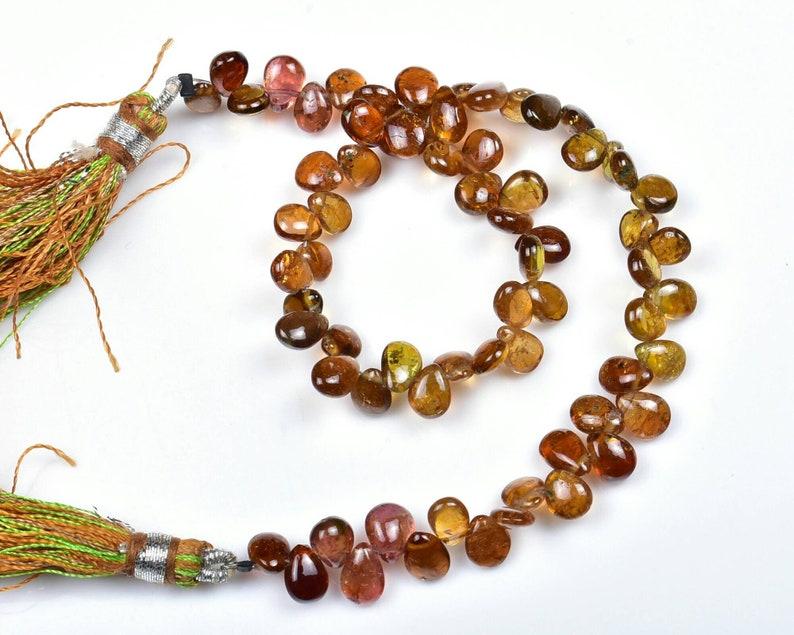 9Strand..b414 4\u00d75-4\u00d77mm Natural Petrol Tourmaline Smooth Plain Pear shape Briolette Beads