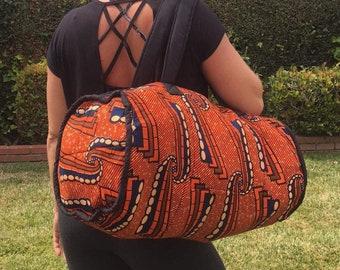 Kitenge Duffle Bag - Orange Navy Cream 0cca098ae106c