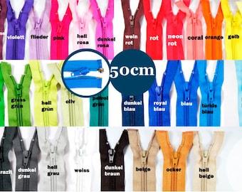 Zipper divisible 50 cm Num.5 5 mm spiral 25 colors on offer jacket zipper zipper to exchange repair black
