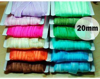 Folding rubber 20 mm, elastic oblique band, elastic elastic band, folding rubber, edging tape 16 colors on offer pink blue green orange cream pink