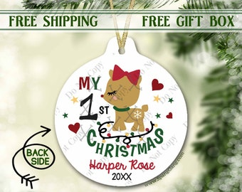 1st Christmas Ornament for Girl | Baby's First Christmas Ornament | Christmas Ornament for Girl | Personalized Ornament Baby's 1st Christmas