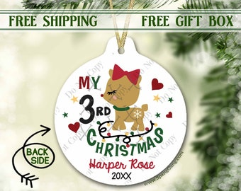 3rd Christmas Ornament Personalized | Third Christmas Ornament | Christmas Ornament for Girl | Personalized Ornament 3rd Christmas | 1st 2nd