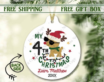 4th Christmas Ornament Personalized | Fourth Christmas Ornament | Christmas Ornament for Boy | Personalized Ornament 4th Christmas | 1st 2nd