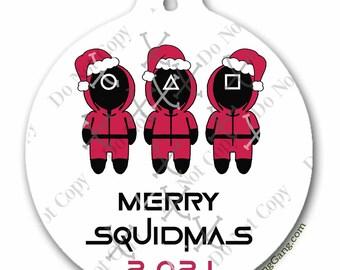 Squid Game Fan Gift | Funny 2021 Christmas Ornament | Netflix | THREE DESIGNS | SquidGames | Honeycomb Challenge | Dolgona Cookie Needle