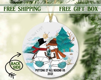 Funny Couple Ornament | Putting It All Behind Us | 2021 Christmas Ornament | Christmas Pandemic Ornament | Funny Facemask Ornament | Xmas