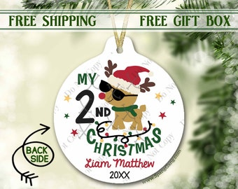 2nd Christmas Ornament Personalized | Second Christmas Ornament | Christmas Ornament for Girl | Personalized Ornament 2nd Christmas | 1st
