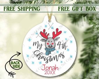 4th Christmas Ornament Baby | Fourth Christmas Ornament Baby Boy | Christmas Ornament for Girl | Personalized Ornament Baby's 4th Christmas
