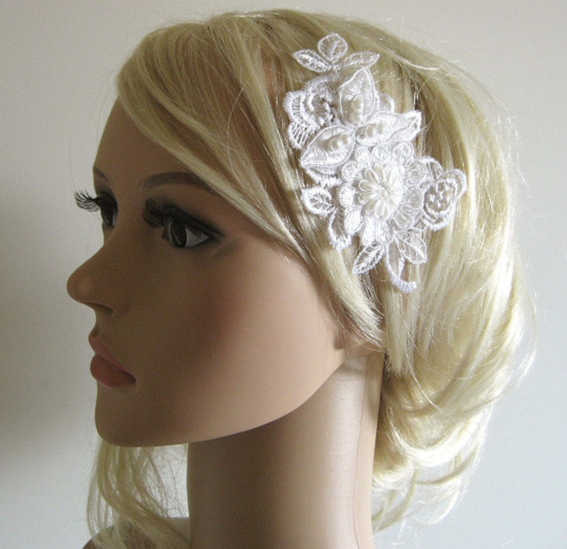 UNIKAT 3D Bride Hair Jewelry Cream White vintage style lace beads