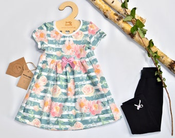 Size 110 (2 parts): tunic + leggings / summer outfit, summer, children, girls, watercolor flowers, rose, striped, shirt, dress, 3/4-leggings