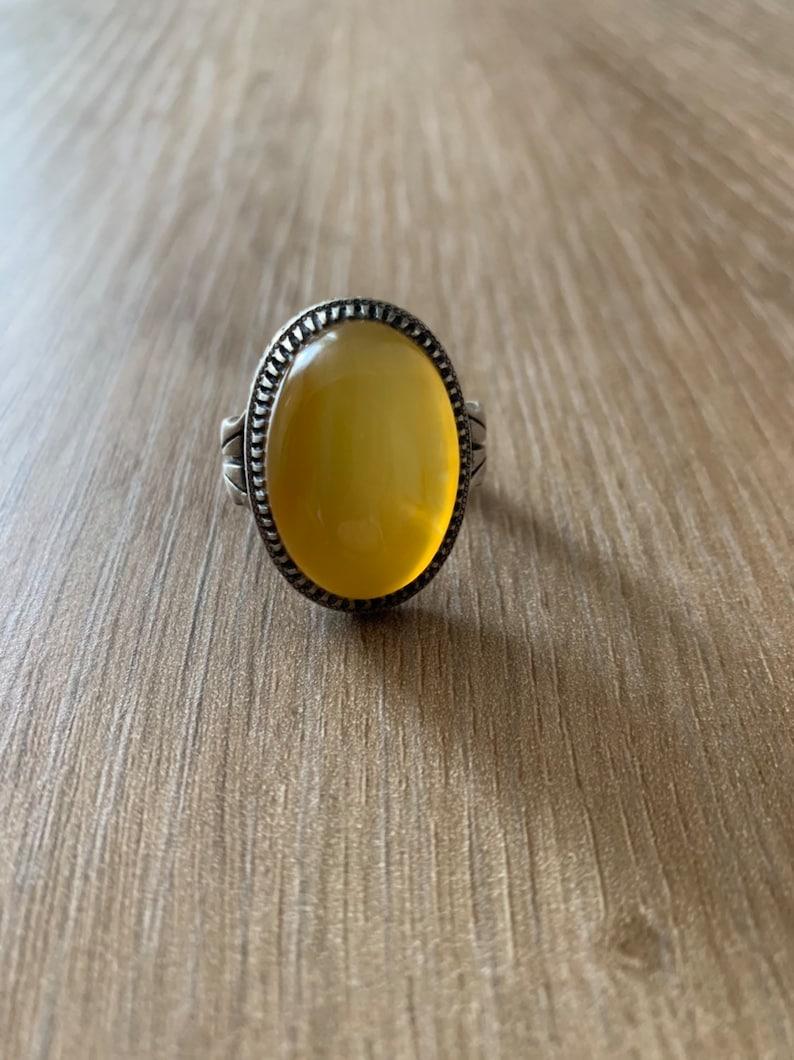 Handmade 925 Sterling Silver Sharaf Al Shams Aqeeq Ring 16.00 Grams Size 10 US