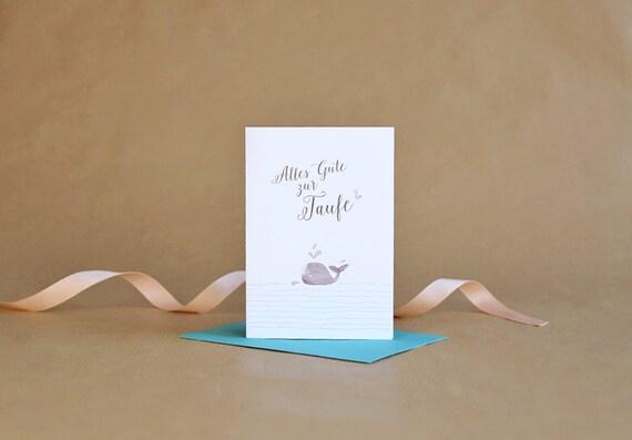 Glückwunschkarte Zur Taufe Ella Klappkarte Grußkarte Taufe Fest Wal Fisch Wasser Wellen Aquarell Mit Umschlag Pastell