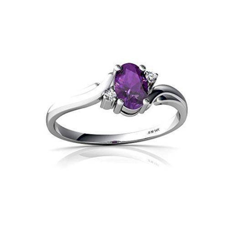 Solitaire with Accents Natural Oval Amethyst Ring in 14k Solid Gold White Gold Diamond Accents Purple Ring Women Ring Gift Bridal Ring