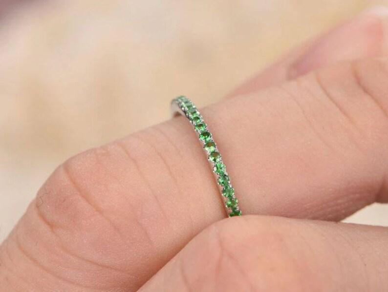 Tsavorite Ring in 14k Solid Gold Tsavorite Garnet Ring January Birthstone Ring Tsavorite Jewelry Half Eternity Ring Stackable Gemstone Ring