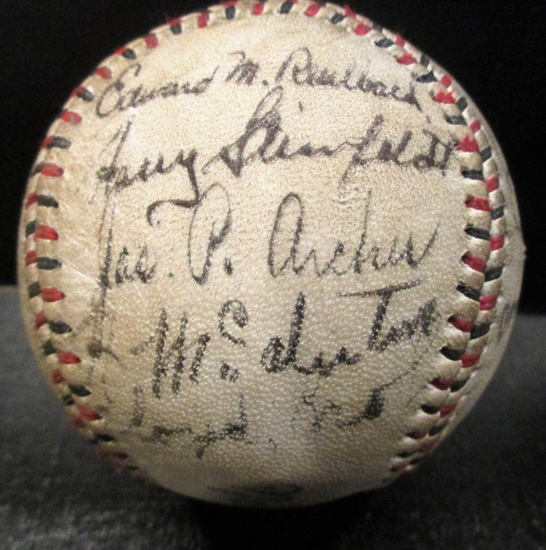 Brown Many More Kling Tinker Evers 1909 Chicago Cubs Team Signed Replica Baseball w Chance