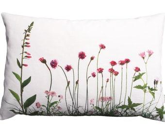 pink meadow flowers,40 x 60 cm,cotton,pillowcase,flower pillows,wildflower pillows,wildflowers,foxglove,grass pillows,natural pillows,pink flowers,
