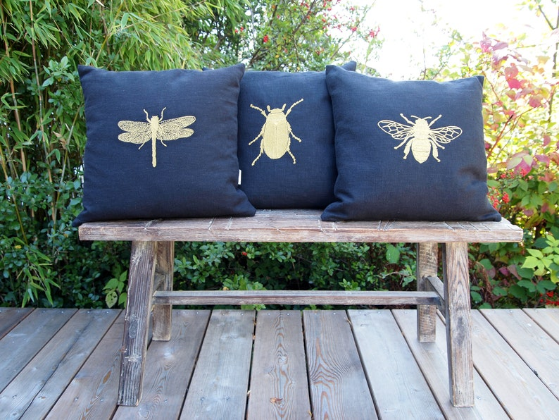 40x40 sun beetle 50x50,40 x 60 cm pillow gold embroidered grasses Linen pillow in black dragonfly bee pillowcase 45x45