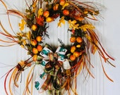 Fall Wreath for Front Door, Autumn Wreath, Fall Wreaths, Front Door Wreaths, Persimmon Fall Grass Wreath, Front Door Decor, Fruit Wreath