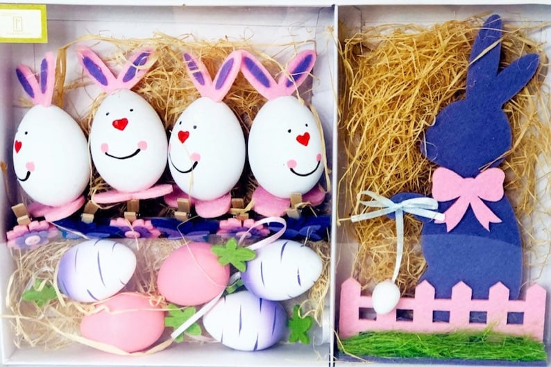 Crafting Wreath Supplies Wreath Ornaments Floral and Bunny Spring Decor Purple and White Easter Egg Ornaments Tabletop Scatter