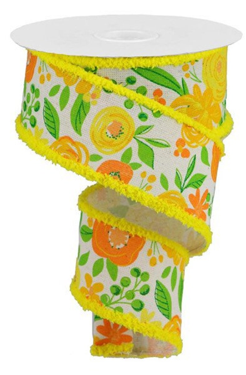 Gold Craft Supplies Craig Bachman 2.5\u201d Bold Blooms Cotton Ribbon: Yellow Orange 10 Yards Wired Ribbon Wreath Supplies DIY