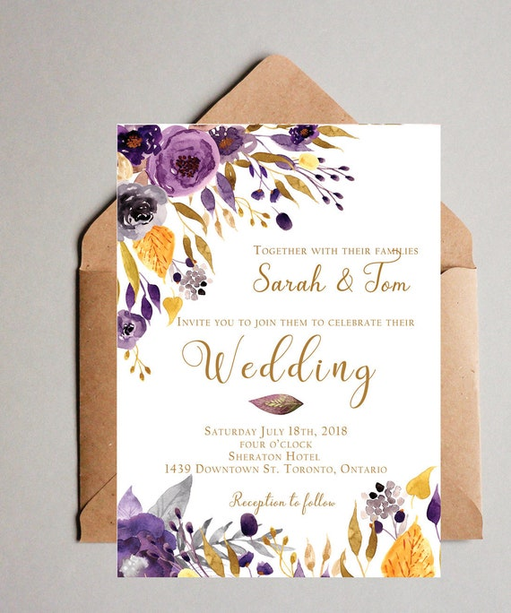 yellow purple wedding invitation printable customizable etsy