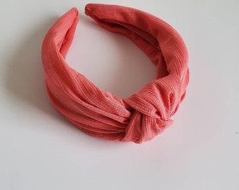 knotted headband nurse headband Neon orange turban headband hair accessory coral headband for woman twisted headband gift for woman