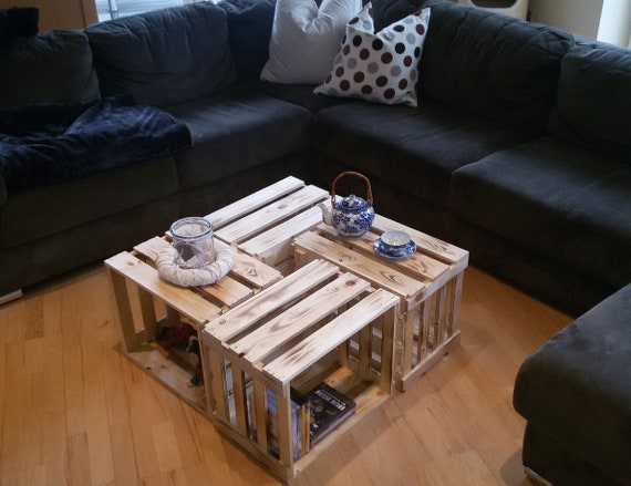 Weinkisten Tisch Couchtisch Tisch Holztisch Etsy