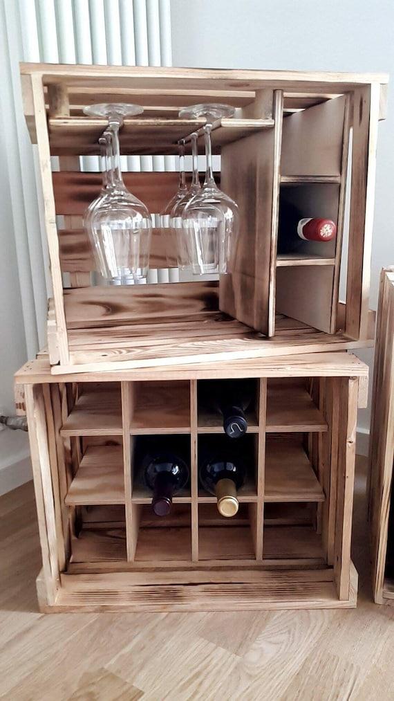 Weinregal aus weinkisten  Weinkisten Weinregal Holzkiste Regal Hausbar Weinpräsent | Etsy