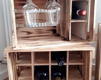 Wine Boxes, (Flamed Optics) Wine Shelf, Wooden Box, Shelf, House Bar, Wine Present, Kitchen Shelf, Shelf, Decoration, Vintage, WineRack,Shelf