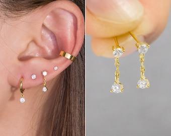 everyday simple cute delicate piercing cartilage lobe sensitive ears jewelry gold stud earrings 2mm dainty small mini tiny earring