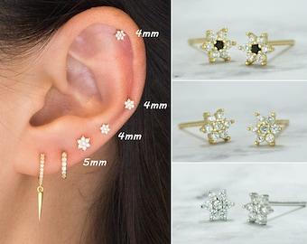 Tiny flower cubic stud earrings-Small stud earrings-Stacking earrings-Tiny earrings-Second hole earrings-flower cz studs-925 Sterling silver