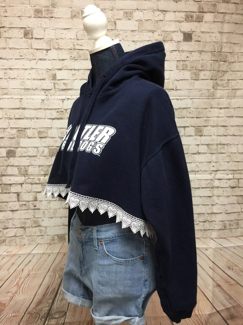 Butler Cropped Sweatshirt with Lace Trim
