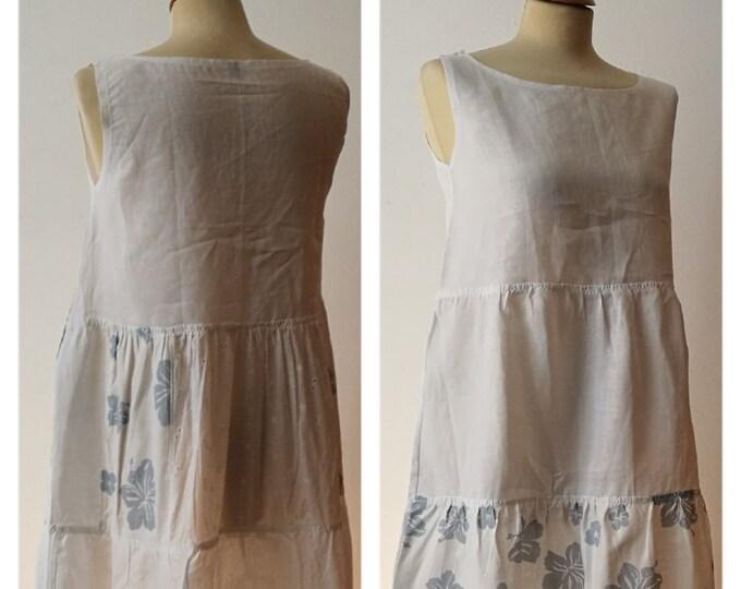 Vestito patchwork da donna, in lino e cotone, lungo; fatto a mano.
