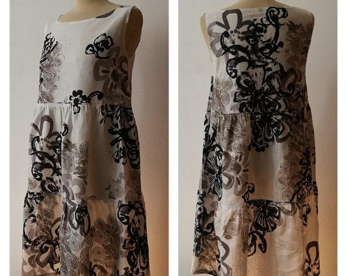 Vestito patchwork da donna, in puro lino, corto; fatto a mano.