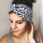 Hairband turban headband ethno ikat black and white