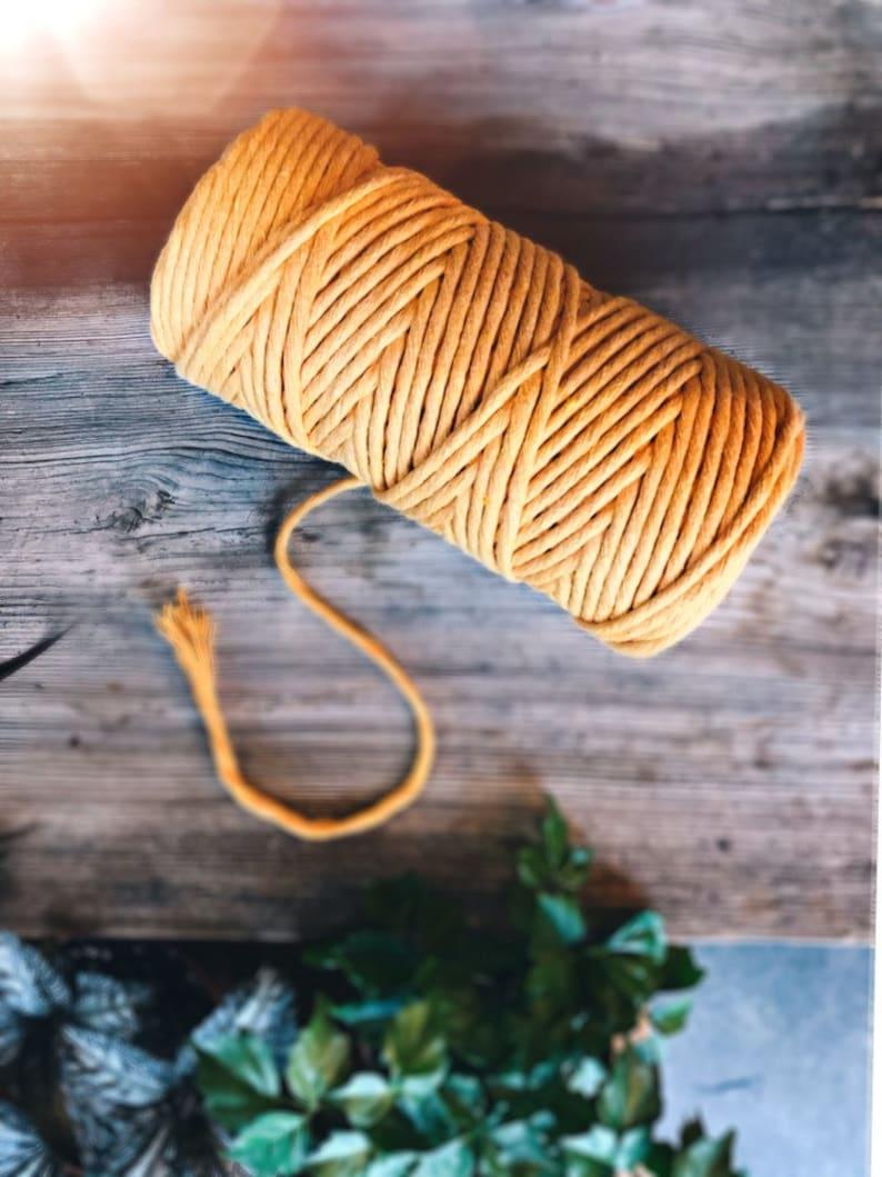 Macrame yarn pure cotton twisted 4 mm mango 100 m image 0