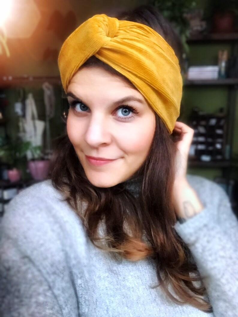 Hairband  Turban Headband Cord Jersey Mustard Yellow image 0