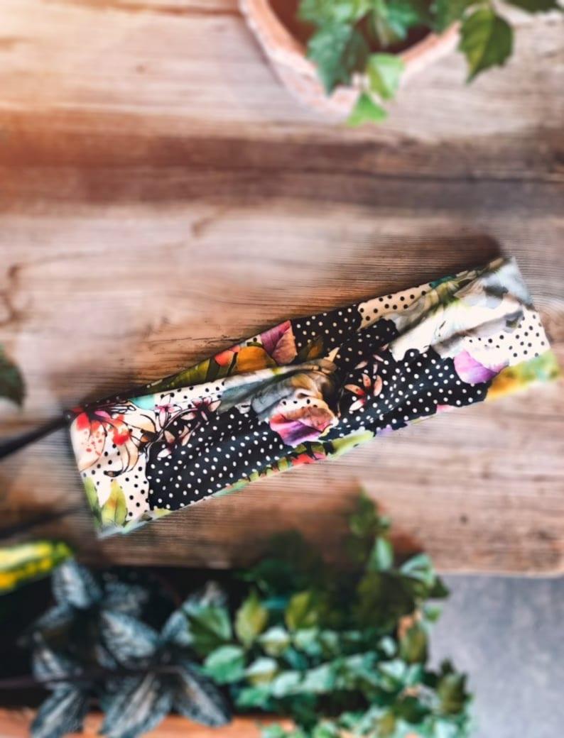 Hairband turban headband polka dotted hibiscus image 0