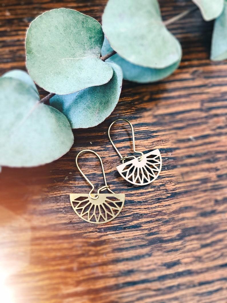 Brass semicircle earrings image 0