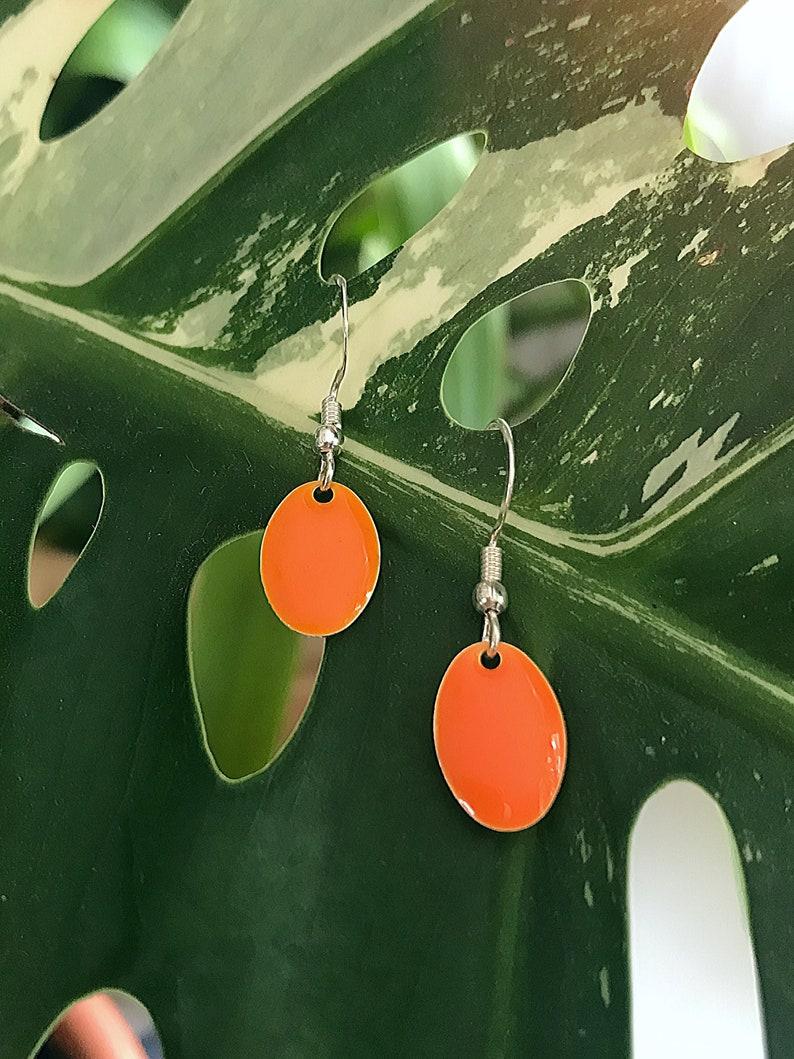 Earrings real silver enamel hanger in orange image 0