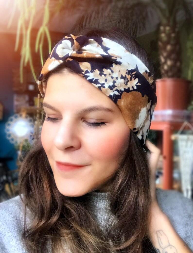 Hairband turban headband autumn flower terracotta image 0