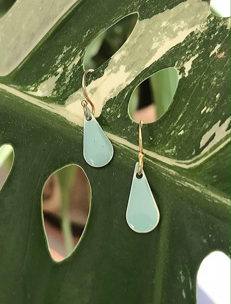 Earrings real silver gold plated enamel pendant drop in mint image 0