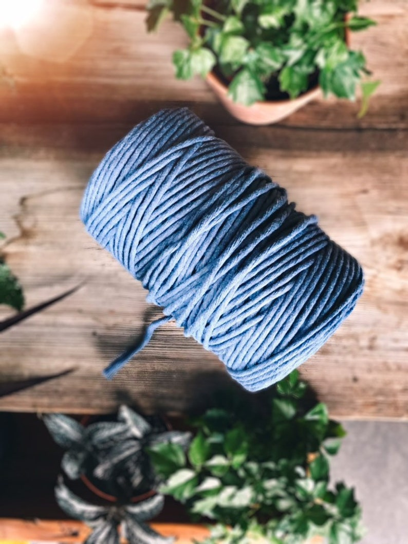 Macrame yarn pure cotton twisted 4 mm jeans blue image 0