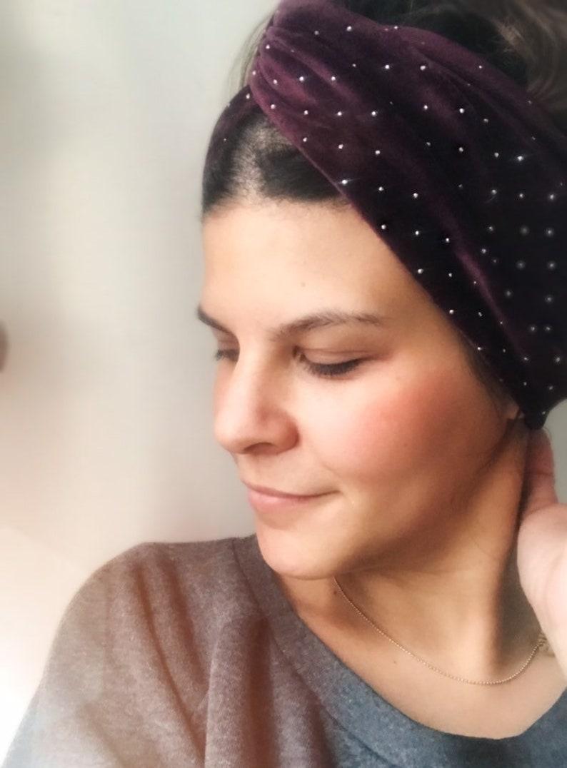 Hairband turban headband Nicki velvet violet with glitter image 0
