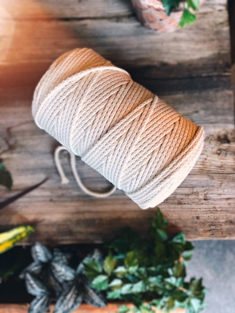 Macrame yarn pure cotton twisted or braided natural image 0