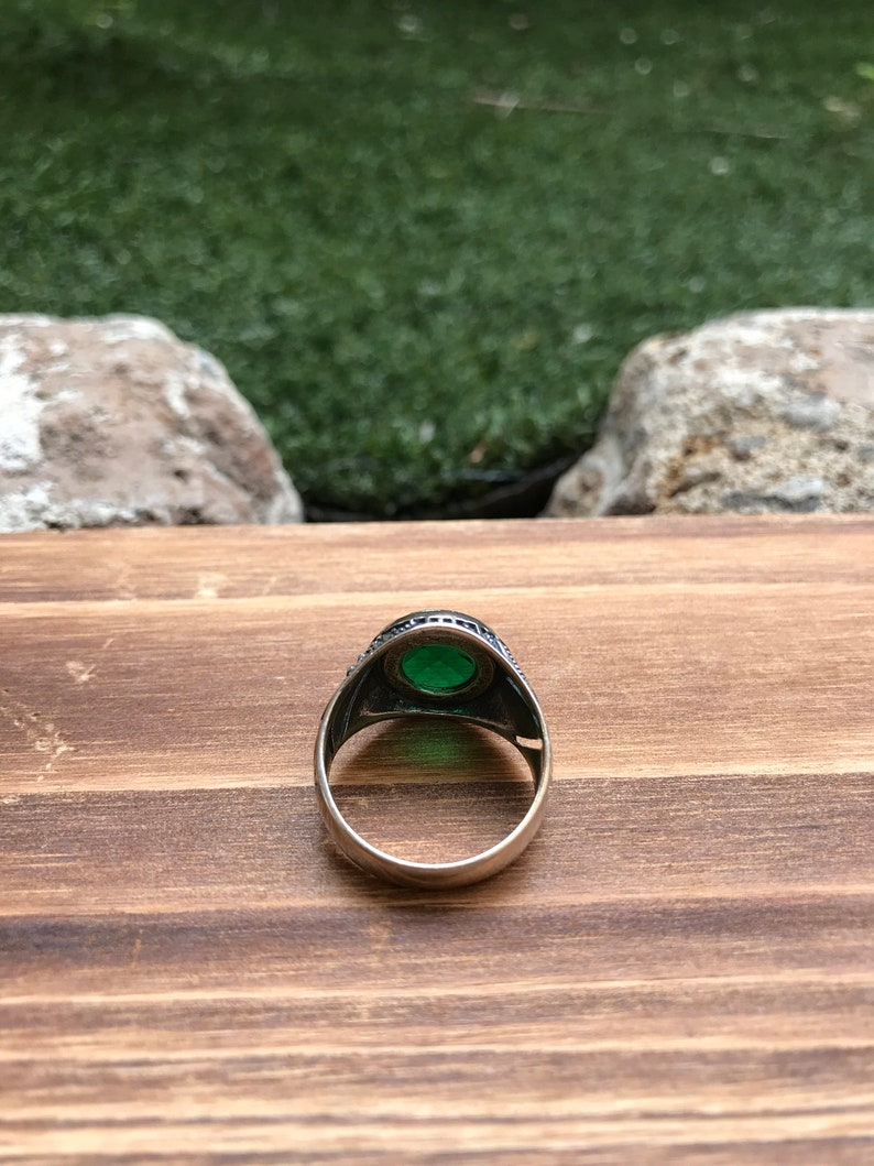 Turkish Handmade 925 Sterling Silver Simulated Emerald Men/'s Ring Sz 9 34