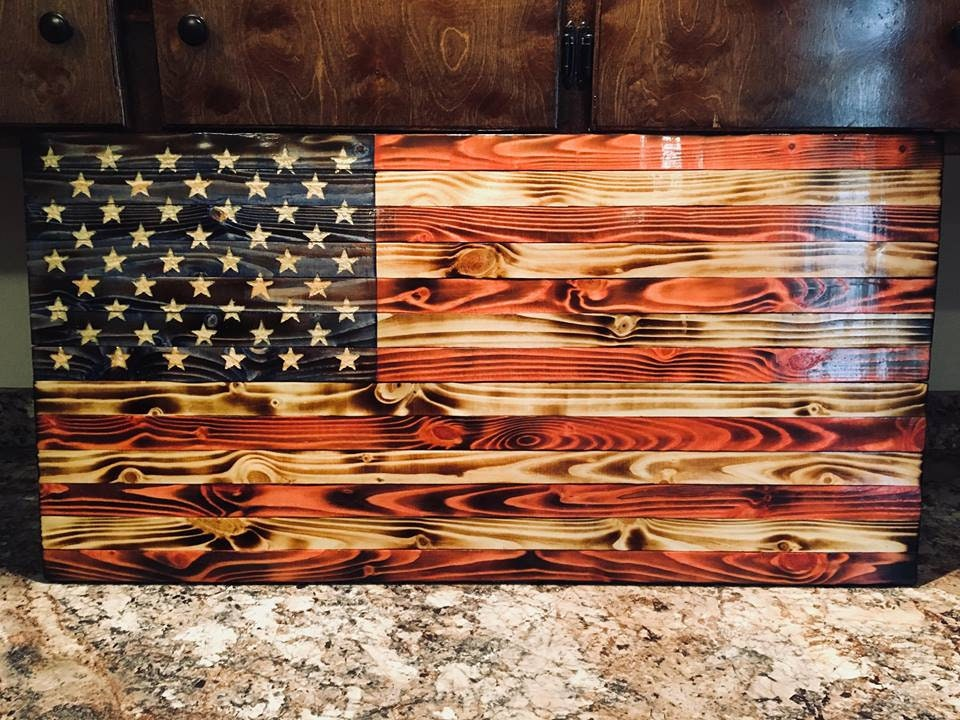 Torched Wooden Flags Etsy