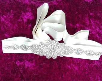 Brautgürtel Schärpe Gürtel Brautkleid ivory, Brautgürtel Glitzer Gürtel für die Braut Champagner, Brautgürtel Strass, Bindegürtel Braut JGA